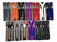 Elastic Clip-On Suspenders Y-Shape With Adjustable Braces MENS WOMENS One Size
