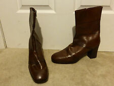 Vintage Neiman Marcus Heeled Boots Leather Size 10 Brown Mid Calf Short New Nos