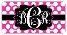Personalized Monogrammed License Plate Auto Car Tag Polka Dot Pink Black