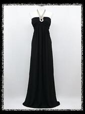dress190 BLACK LONG HALTER SPARKLE EVENING PARTY BALL PROM GOWN DRESS UK 12