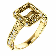 Semi Mount Setting Diamond Halo Princess Cut Yellow Gold Vintage Engagement Ring