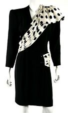 JACQUELINE DE RIBES Vintage Black Silk & Polka Dot Satin Sash Cocktail Dress 10