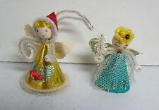 Pair Vintage Christmas Pixie Angels Chenille Ornaments