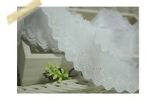 14Yds Broderie Anglaise cotton eyelet lace trim 4cm white YH1347 laceking2013