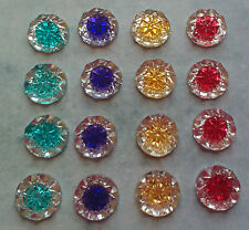 10 x multi colour stick on round stones 14mm cabochon, embellishment  flat back