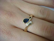 14K YELLOW GOLD GENUINE SAPPHIRE AND DIAMONDS LADIES FREE STYLE RING, 3.3 GRAMS