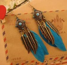 Vintage Look Antique Bronze Color Long Feather Earrings Crystal Jewelry BLUE UK
