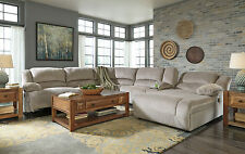 CARRIE-6pcs Gray Microfiber Recliner Sofa Couch Chaise Sectional Set Living Room