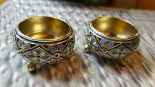 Antique Russian silver champleve enamel pair of salts Gustav Klingert Tiffany