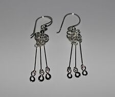925 Sterling Silver Infinity Extravagant Chandelier Hook Drop Dangle Earrings