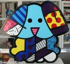 ROMERO BRITTO 'Blue Dog', 2012 HAND-SIGNED Pop Sculpture Iron White Base CoA NEW