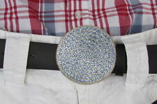 New Women Silver Metal Western Belt Buckle Round Shape Light Blue Rhinestones