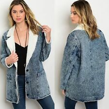 Super Cute Ivory Faux Shearling Lined Denim Jacket Sz M