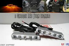 2 Chrome 5 LED TURN Signals Flashers Front Rear Indicators MotorBike Cafe Racer