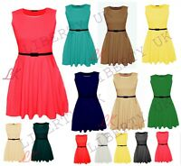 Womens Sleeveless Flared Franki Party Ladies Plus Size Skater Dress Top 16-26