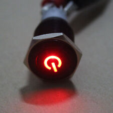 19mm Black Case Power Symbol ON/OFF RED LED 12V Push Button Switch fu
