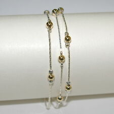 925 Sterling Silver and 14kt Gold Filled Beads 3 Strands Two Tone BRACELET