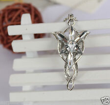 Lady LOTR Charm plated Silver Arwen Evenstar Crystal Pendant Necklace chain