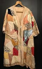 Vintage Art Deco Silk Patchwork Coat Hand Made 1930s 12 14