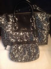 Coach Ashley Ocelot Lurex 2Way Satchel Silver/Black F15520+ Wristlet Wallet EUC