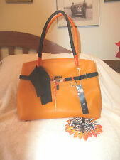 Chenson New With Tags Handbag Orange/Black Jelly Purse By Chenson Handbags Sz L!