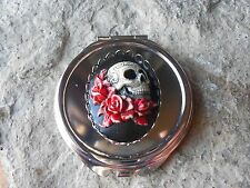 HAND PAINTED SKULL & ROSES CAMEO ROUND MAKE UP MIRROR, COMPACT MIRROR, UNIQUE