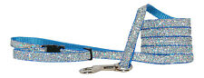 light blue  sparkle chihuahua dog/pup collar lead set