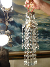 1o2 hanging Lamp Chandelier brass crystal glass prism vintage waterfall fountain