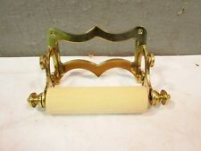Polished Brass ANTIQUE STYLE Bath Toilet tissue Paper holder with wood roller
