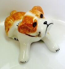 Dog Bulldog Ceramic Tiny Pet Animal Figurine Hand Painted Gift Art Collectible
