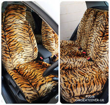 Full Set of Furry Gold Tiger Print Car Seat Covers - Fits Most Cars