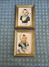 Two Vintage Small Watercolors Dutch Sisters Zeeland  -   Matthijs Hage Signed