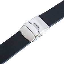 22mm Bonetto Cinturini 300L Mens Black Smooth Rubber Deployant Watch Band Strap