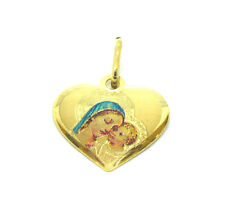 9ct Gold Madonna and Babe Heart Shape Pendant with Enamel Detail            7003
