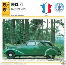 BERLIET DAUPHINE VIRP-2 1939 1940 CAR VOITURE FRANCE CARTE CARD FICHE