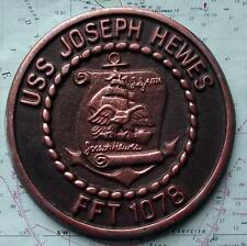Old United States Navy  Metal Plaque Tampion Crest USS JOSEPH HEWES