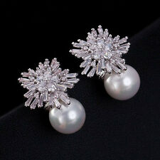 9K White Gold Filled Snowflakes Stud Earrings & White Pearl (925 Silver Needle)