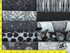 """Great Black, White & Gray Jelly Roll 40 - 2.5"""" Strips Quilting Fabric #3b21"""