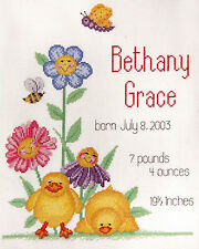 Bucilla Baby Birth Record Counted Cross Stitch Kit 43404 Flower Duck Bee Smiley