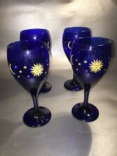 Set Of 4 Celestial Cobalt Blue Sun moon and stars wine glasses.