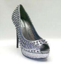 "New! Madden Girl $149 Pewter ""AWWSOME"" Sparkle Platform Pumps Women's Shoes sz 9"