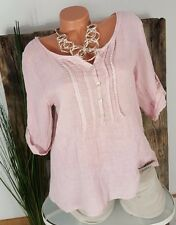 NEU ITALY VINTAGE TWO FACE LEINEN BLUSE 3/4 ARM  █ BIESEN █  WASHED ROSA 36-42