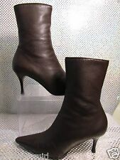 GUCCI AUTHENTIC BROWN LEATHER MADE IN ITALY STILETTO ZIP ANKLE BOOTIES SZ 5.5M
