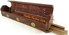 "Coffin Box OM Incense Burner Hand Made 12"" Long, Wood. Now Improved!"