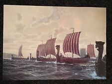 A2 Large Colour Viking Print Poster Sea Longboat Fleet Dragonboat Navy Invaders