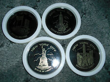 New York City  Landmarks Plastic Drink Coasters  Set Four Made in Hong Kong