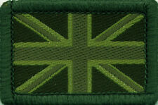 Union Jack UK British Flag Woven Badge Patch Green Tones 4 x 2.7cm
