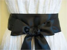 "NEW 2.5""X100"" BLACK SATIN SASH BELT SELF TIE BOW UPDATE DRESS PROM PARTY WEDDING"