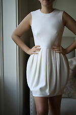 ALEXANDER MCQUEEN IVORY CREPE WOOL POD MINI DRESS UK 8