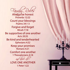 Family Rules Wall Decal Quote Love One Another Bible Verses Vinyl Art Decor KY69
